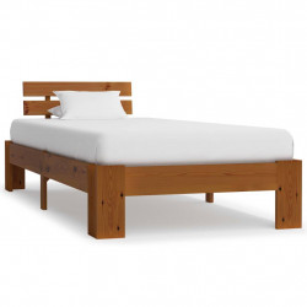 gultas rāmis, medus brūns, priedes masīvkoks, 100x200 cm
