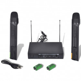 1 Uztvērējs ar 2 Bezvadu Mikrofoniem VHF Darbības Diapozons 50m