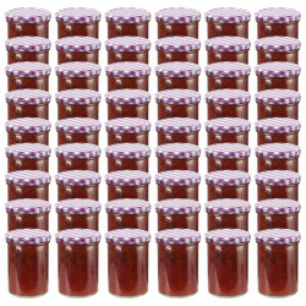 ievārījuma burciņas, balti violeti vāciņi, 48 gab., 400 ml