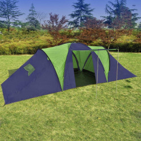 Telts 9 Personām Poliestera Zila Zaļa