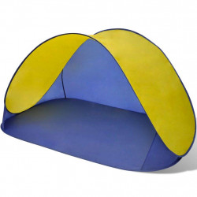 Pludmales telts, saliekama, ūdensizturīga, dzeltena ar tumši zilu