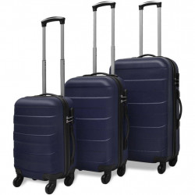 trīs koferi ar riteņiem, zilā krāsā