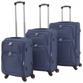 mīkstie koferi ar riteņiem, 3 gab., tumši zili
