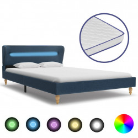 gulta ar LED, atmiņas efekta matracis, zils audums, 120x200 cm