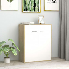 kumode, 60x30x75 cm, kokskaidu plāksne, balta un ozolkoka