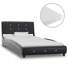 gulta ar matraci, melna, 90x200 cm, mākslīgā āda