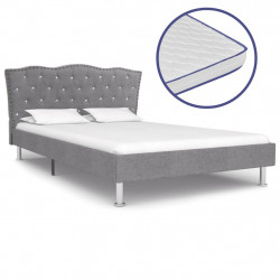gulta ar atmiņas efekta matraci, 120x200cm, gaiši pelēks audums
