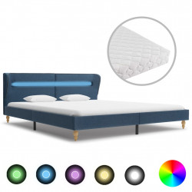 gulta ar LED un matraci, zils audums, 160x200 cm