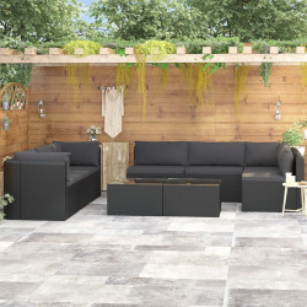 9-daļīgs dārza atpūtas mēbeļu komplekts ar matračiem, PE, melns