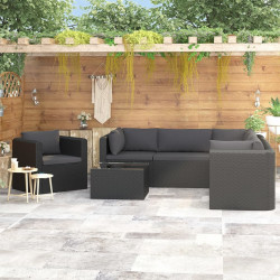 7-daļīgs dārza atpūtas mēbeļu komplekts ar matračiem, melns PE