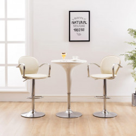 bāra krēsli ar roku balstiem, 2 gab., krēmkrāsas mākslīgā āda