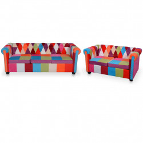 divdaļīgs Chesterfield dīvānu komplekts, audums
