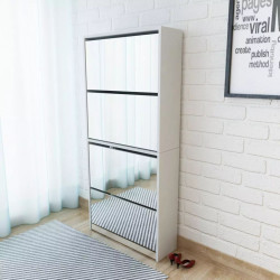 apavu skapītis ar spoguli, 4 nodalījumi, 63x17x134 cm, balts