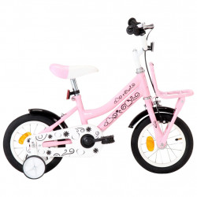 bērnu velosipēds ar priekšējo bagāžnieku, 12 collas, balts,rozā
