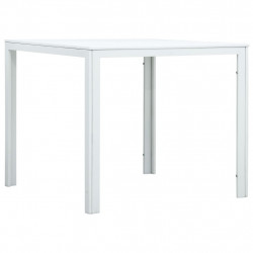 vidaXL kafijas galdiņš, 78x78x74 cm, balts HDPE, koka imitācija