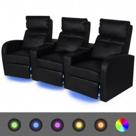 atgāžams atpūtas dīvāns ar LED, trīsvietīgs, melna mākslīgā āda