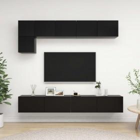 atgāžams atpūtas dīvāns ar LED, piecvietīgs., melna mākslīgā āda