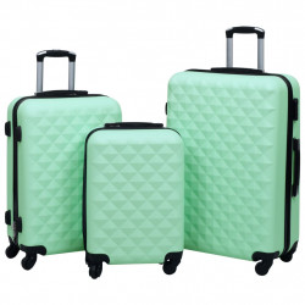 cieto koferu komplekts, 3 gab., ABS, piparmētru zaļi