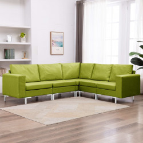 5-daļīgs dīvānu komplekts, zaļš audums