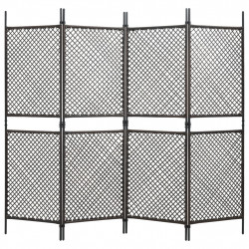 4-paneļu istabas aizslietnis, 240x200 cm, PE rotangpalma, brūns
