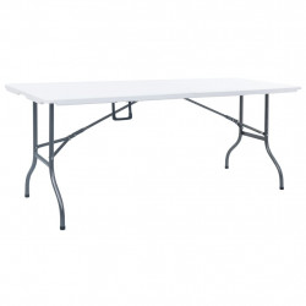 saliekams dārza galds, balts, 180x72x72 cm, HDPE