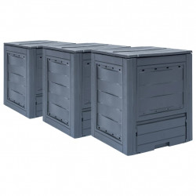 dārza komposta kastes, 3 gab., pelēkas, 60x60x73 cm, 780 L
