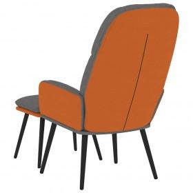 datorspēļu krēsls ar kāju balstu, oranža mākslīgā āda