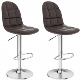 bāra krēsli, 2 gab., brūna mākslīgā āda
