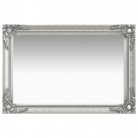 baroka stila sienas spogulis, 60x40 cm, sudraba krāsā