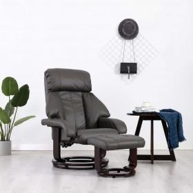 trīsvietīgs atpūtas krēsls, atgāžams, brūna mākslīgā āda