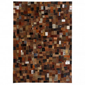 paklājs, 120x170 cm, brūna dabīgā āda, etiķešu tekstilmozaīka