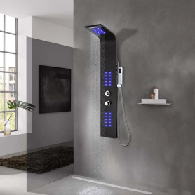 dušas sistēma ar paneli, 20x44x130 cm, melns alumīnijs