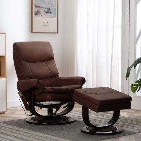 masāžas krēsls, atgāžams, brūna mākslīgā āda, liekts koks