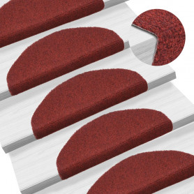 kāpņu paklāji, 15 gab., pašlīmējoši, 65x21x4 cm, sarkani