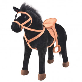 rotaļu zirgs, melns plīšs