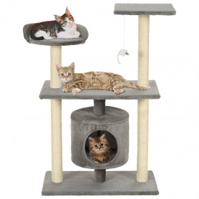 kaķu māja ar sizala stabiem nagu asināšanai, 95 cm, pelēka