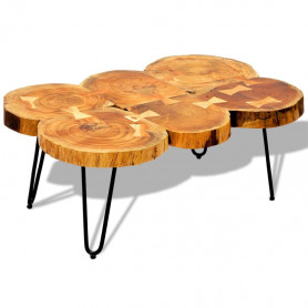 kafijas galdiņš, 35 cm, 6 koka ripu dizains, masīvs rožkoks