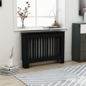 radiatora pārsegs, melns, 112x19x81 cm, MDF