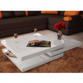 vidaXL kafijas galdiņš, trīsdaļīgs, spīdīgs, balts
