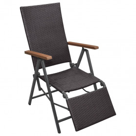 atgāžams pludmales krēsls, brūna PE rotangpalma