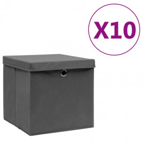 uzglabāšanas kastes ar vāku, 10 gab., pelēkas, 28x28x28 cm