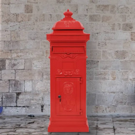 pastkaste, retro stils, nerūsējošs alumīnijs, sarkana