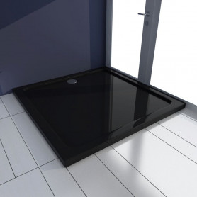Dušas pamatne, tvertne, kvadrāta forma, melns ABS, 90x90 cm