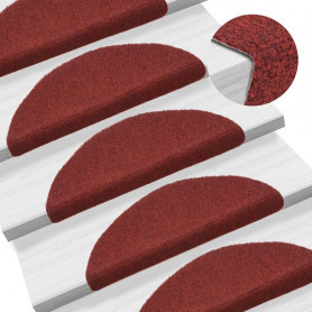 kāpņu paklāji, 15 gab., pašlīmējoši, 54x16x4 cm, sarkani