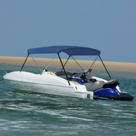 divloku motorlaivas jumts, tumši zils, 180x150x110 cm