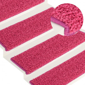 kāpņu paklāji, 15 gab., 65x25 cm, rozā