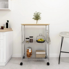 3 līmeņu virtuves ratiņi, 61x36x85 cm, hromēta dzelzs