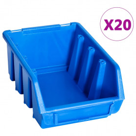 uzglabāšanas nodalījumi, 20 gab., zila plastmasa