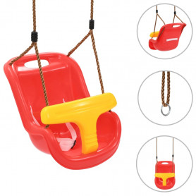 bērnu šūpoles ar drošības jostu, PP, sarkanas