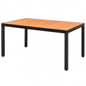 dārza galds, brūns, 150x90x74 cm, alumīnijs un WPC
